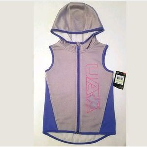 Girls Hooded Gray Under Armour Vest Jacket